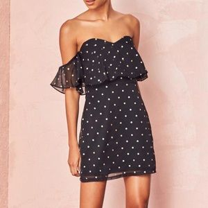 ✨ NWT Lovers + Friends Lush Dress in Gold Dot ✨
